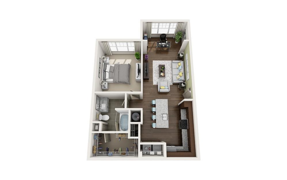 A1S 1 bedroom 1 bath 750 square feet