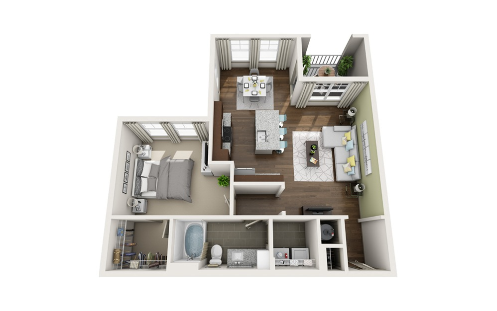 A2M3 1 bedroom 1 bath 819 square feet