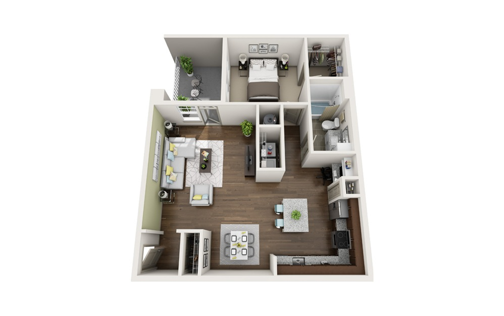 A3 1 bedroom 1 bath 1079 square feet