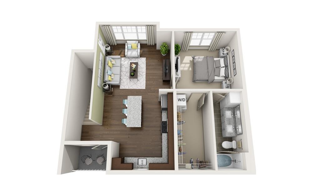 A6 1 bedroom 1 bath 647 square feet