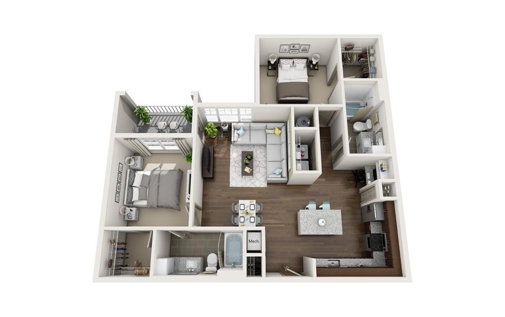 B1 2 bedroom 2 bath 1,079 square feet