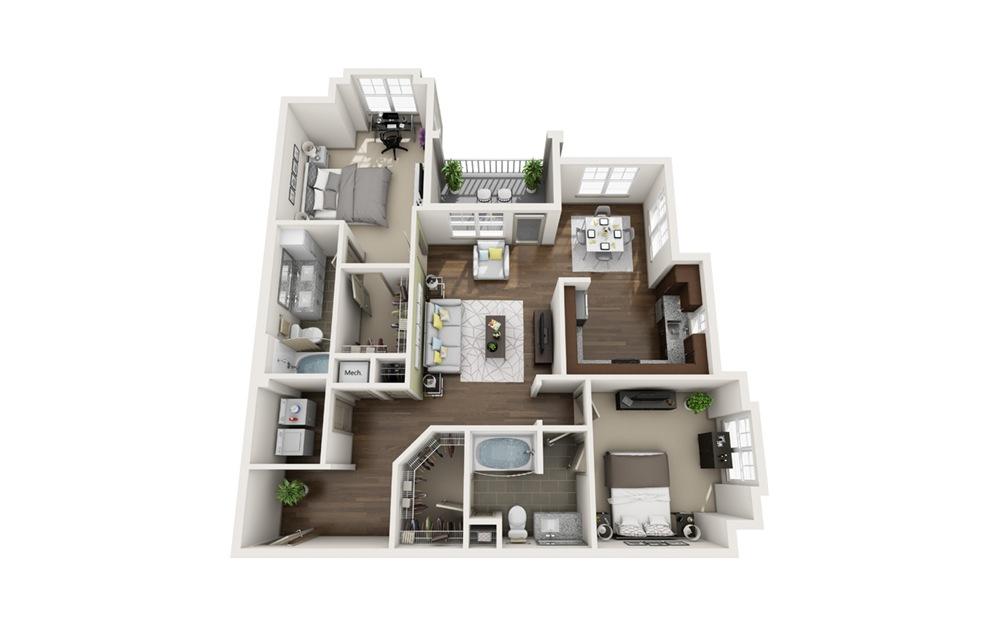 B6 2 bedroom 2 bath 1,152 square feet
