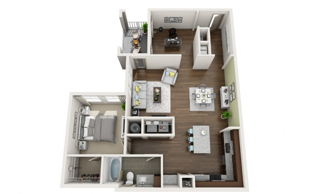 A7 - 1 bedroom floorplan layout with 1 bath and 1079 square feet.